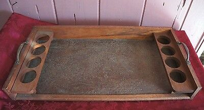 Vtg. Wooden Bar? Tray With Faux Leather Accents
