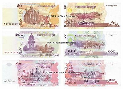 Cambodia 50 + 100 + 500 Riels Set of Banknotes 3 PCS UNC