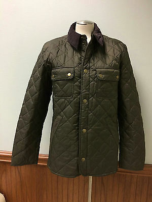 Barbour x JCrew Collab Tinford Jacket Medium olilve green quilted corduroy E0548