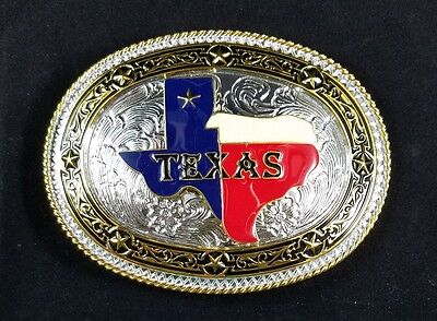 State of Texas Western Metal Belt Buckle Large Metal Silver Red White Blue Star