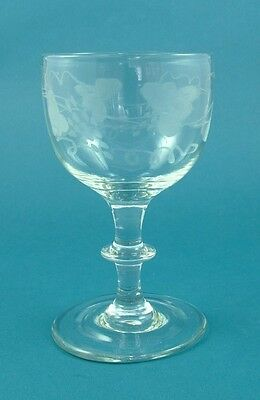 Late 18th Century Large Grapevine Engraved Lead Crystal Wine Glass c.1790