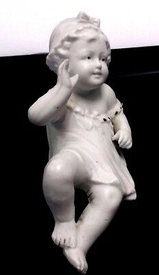 """Antique German Bisque Piano Baby Small With Hat Figurine Grafenthal 4.5"""" X 2.5"""""""
