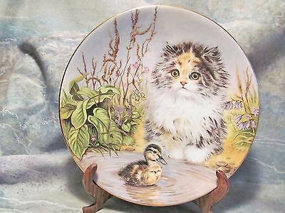 "Royal Worcester Kitten Encounters ""just Ducky"" Porcelain Cat Plate Cooper"