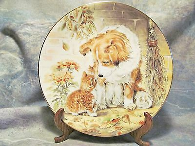 "Royal Worcester Kitten Encounters ""puppy Pal"" Porcelain Cat Plate By Pam Cooper"