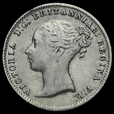 1854 Queen Victoria Young Head Silver Fourpence / Groat, 5 over 3, Scarce
