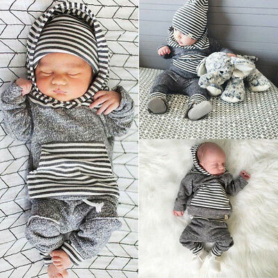 2pcs Newborn Infant Baby Boy Girls Clothes Hooded T-shirt Tops+Pants Outfits Set