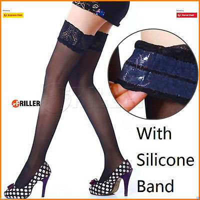 Sexy Women Sheer Lace Thigh High Stockings Pantyhose Hold-up Tights Top Stay Up