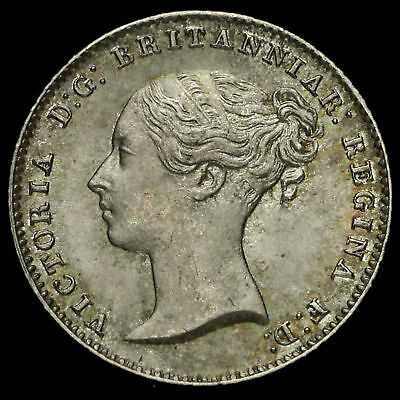 1854 Queen Victoria Young Head Silver Fourpence / Groat, A/UNC