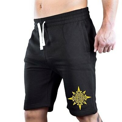 Red Tribal Aztec Sun Symbol Tee V387 Mens Black Fleece Jogger Sweatpant Gym Shorts