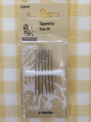 Williams - Tapestry Needles Size 20 Pack Of  6 Needles