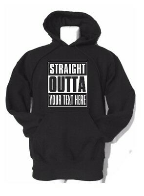 STRAIGHT OUTTA ... PERSONALIZED with your text Gildan unisex hooded sweatshirt.