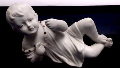 """Antique German Bisque Piano Baby Small Doll Figurine Grafenthal Mark 4.5"""" X 2.5"""""""