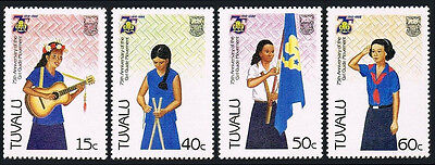 Tuvalu 328-331, MNH. Girl Guide Movement, 75th anniv.Playing guitar,Camping,1985