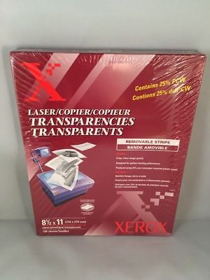 New Xerox 3R3108 Removable Stripe Laser Copier Transparencies Clear 100 Sheets