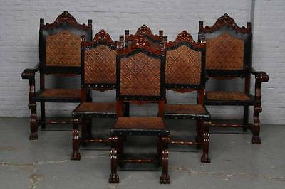 Very Nice Spanish Dining Room Set Of 6 Chairs - 14Be5292C