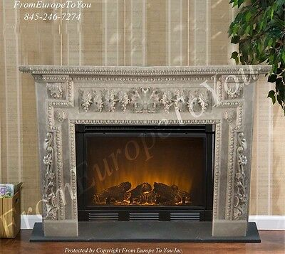 Hand  Carved Marble Floral European Design Fireplace Mantel Mby158