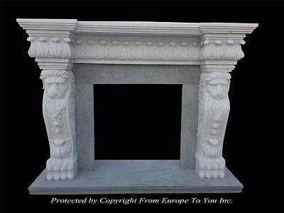 Hand Carved Marble Lion Estate Custom Fireplace Mantel - Fireplace Mantel - Fp33
