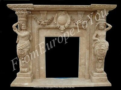 Nice Hand Carved Marble Figural Fireplace Mantel