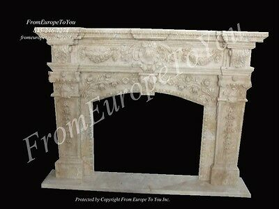 Masterful Hand Carved Marble Fireplace Mantel Mbt043