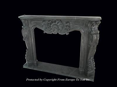 Hand Carved Solid Marble French Style Fireplace Mantel #11