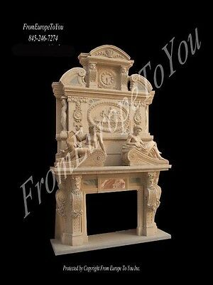 Monumental Hand Carved Marble Fireplace Mantel Mbr015