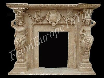 Figural Large Carved Marble Fireplace Mantel Fgd040