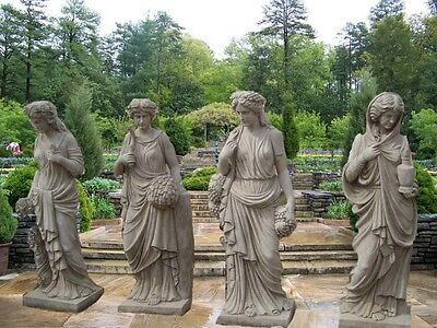 4 Beautiful Estate Designer 4 Season Antique Stone Style Statues As29