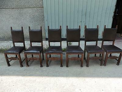 Carved Antique Walnut Original Leather  Dining Room Chairs - 15It018E