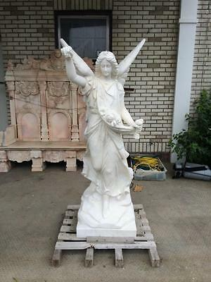 Hand Carved Marble Carrara Angel Estate Indoor - Outdoor Statue -  Ms7458