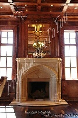 The Best Monumental Estate Gothic Hand Carved Marble Fireplace Fpm211
