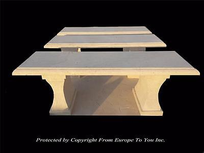 Beautiful Hand Carved Travertine Outdoor Estate Benches - Nc20-3