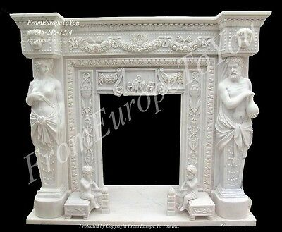 Carved Figural Victorian Style Marble Fireplace Mantel Tl021