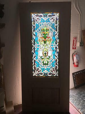 "Beautiful 36"" X 80"" Custom Solid Mahogany Stained Glass Door"