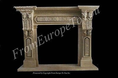 The Best Art Nouveau Hand Carved Marble Fireplace Mantel - Mbf133