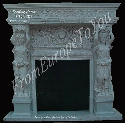 Great Hand Carved Marble Figural Fireplace Mantel