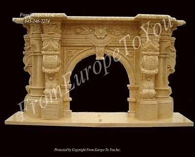 Monumental Hand Carved Marble Victorian Style Fireplace Mantel - Mfp987