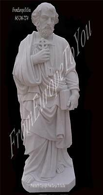 Beautiful Hand Carved Marble St. Peter 6' Tall Statue - Msf1