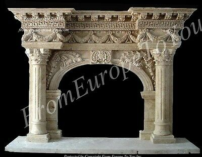 Massive Hand Carved Marble Fireplace Mantel Fgd018