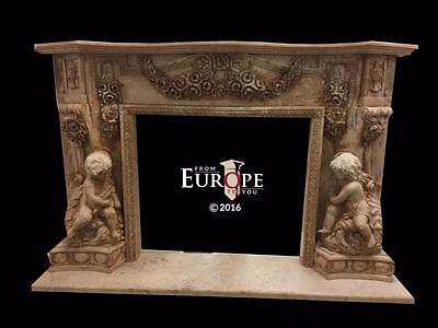Beautiful Hand Carved Marble Cherub Massive  Fireplace Mantel - Jd201