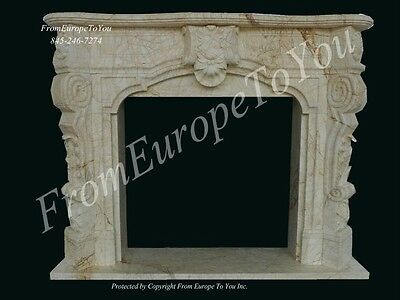 Italian Hand Carved  Calcutta Gold Fireplace Mantel - Cg1