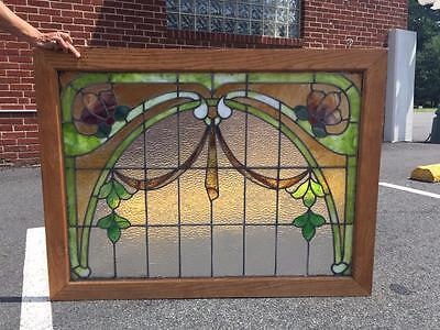 Beautiful American Antique Victorian Stained Glass Window - Rd25