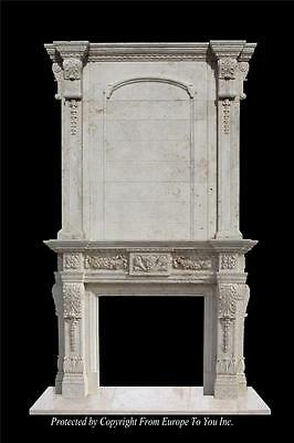 Monumental Beautiful Hand Carved Marble Estate Fireplace Mantel- Fpm70