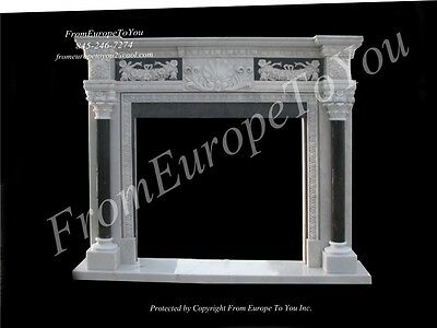 Hand Carved Marble Two Tone Fireplace Mantel Pb6