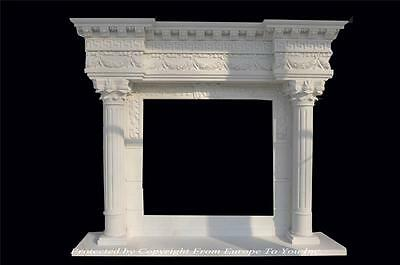 Large Hand Carved Marble Estate European Design Fireplace Mantel - Hw1