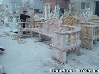 Nice Large Hand Carved Marble Garden Bench Sg36