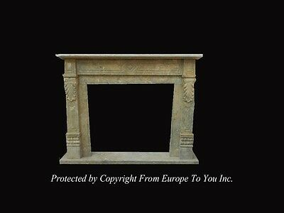Hand Carved Antique Stone Style Fireplace Mantel - Jps601