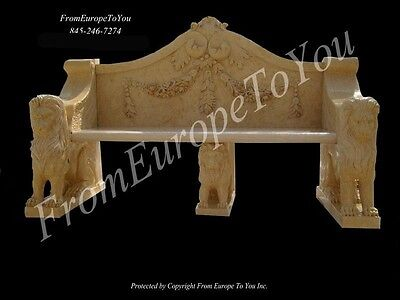 Nice Hand Carved Marble Lion Marble Bench #69