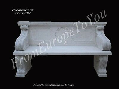 Hand Carved Marble Classical Garden Bench