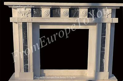 Great Hand Carved Marble Custom Estate Fireplace Mantel Am2
