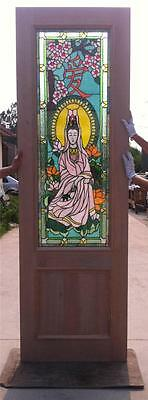 Custom Design Hand Made Mahogany Wood Stained Glass Buddha Entry Door - Jh363